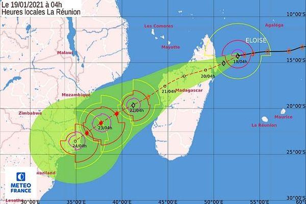 Prévision de la trajectoire d'Eloïse 19 janvier 2021