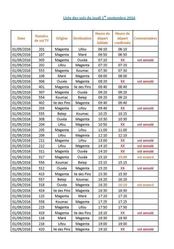 Aircal : programme vols du 1er septembre (grève générale)