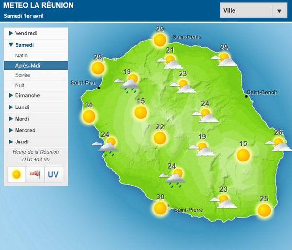 Carte météo du samedi 1er Avril