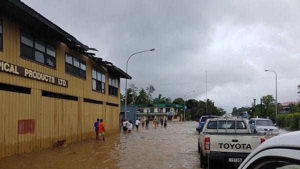 Apia, Samoa, inondée par Gita (février 2018)
