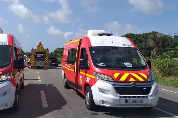 Pompiers en intervention à Macouria
