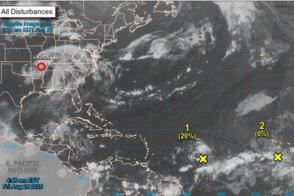 Image satellite des ondes tropicales 31 et 32 le 28/08/2020