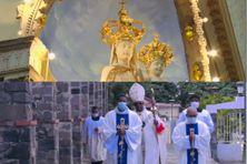 Statue de Notre Dame de la Délivrande du Morne-Rouge, célébrée par l'Archevêque David Macaire (lundi 30 août 2021).