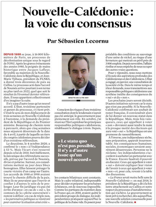 Tribune de Sébastien Lecornu dans le JDD