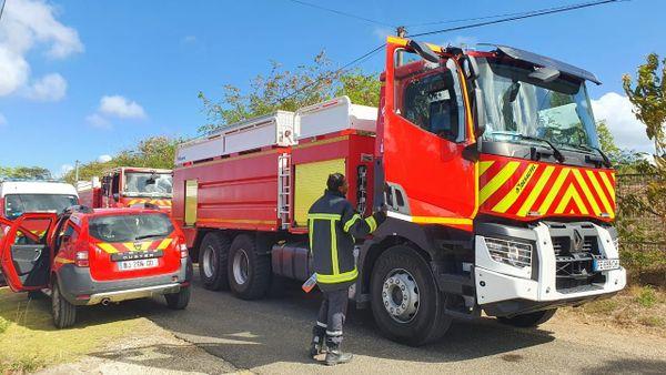 Les véhicules de pompiers dépêchés sur place