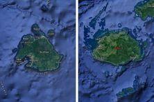 Efaté au Vanuatu à gauche, Viti Levu à Fidji à droite
