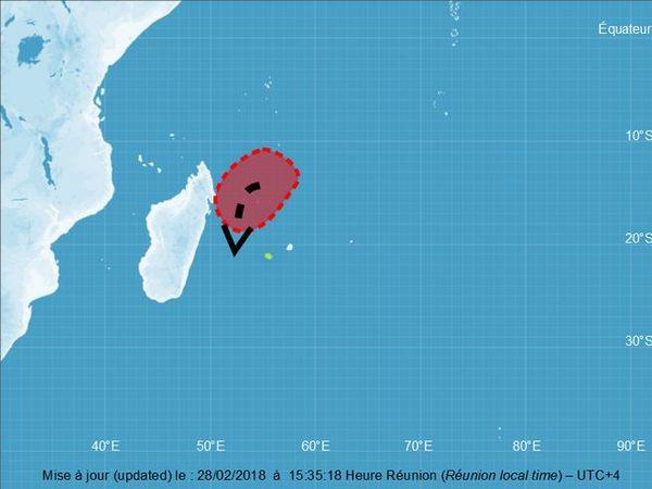 Carte de la trajectoire possible de la tempête tropicale en formation mars 2018