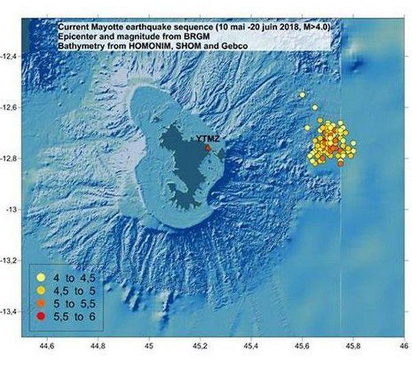Mayotte séisme carte brgm