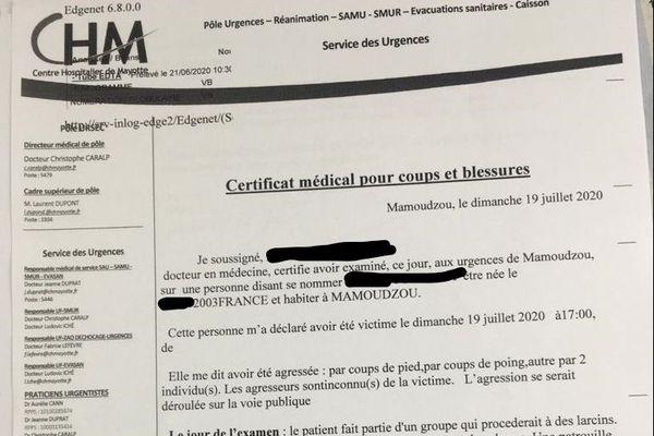 Certificat médical victime police