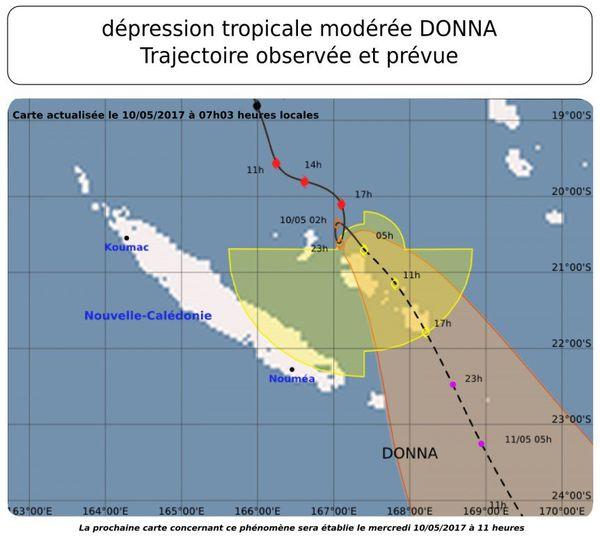 Trajectoire cyclone Donna 10 mai 9 h 30
