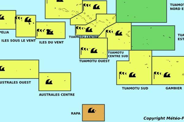 Un puissant anticyclone dans le Sud du Pays génère un régime d' alizé des Australes aux Gambier, les Tuamotu et la Société.