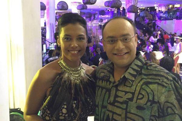 Lovaina et Alexandre Taliercio, les présentateurs de la soirée Mister Tahiti 2016