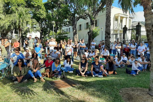 Manifestants anti vaccin jardin préfecture