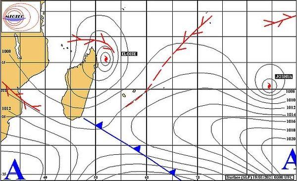 Cartes isobariques, analyse des pressions sur l'océan Indien 19 janvier 2021