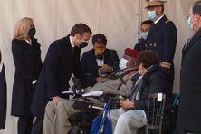 Emmanuel Macron a salué Loïc Liber, militaire guadeloupéen grièvement blessé par le terroriste Mohamed Merah en 2012.