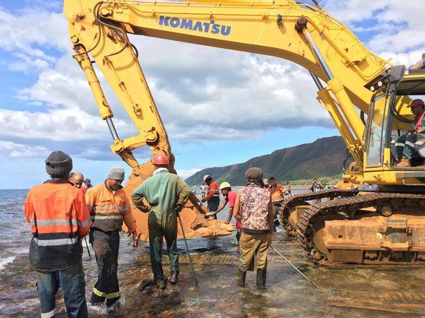 Enlèvement 2 engin minier bull lagon Houaïlou Cap Bocage (13 juillet 2017)