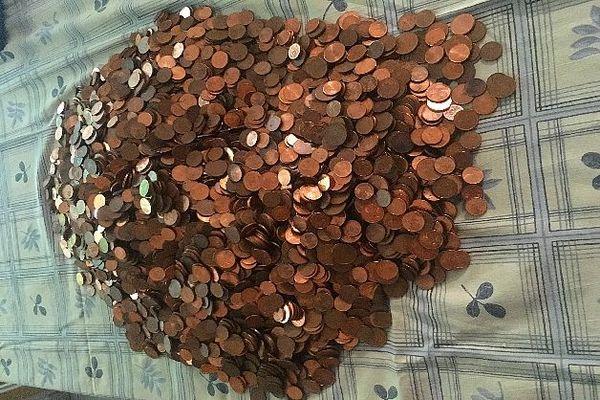 127 € en pièces de 1, 2 et 5 centimes février 2020