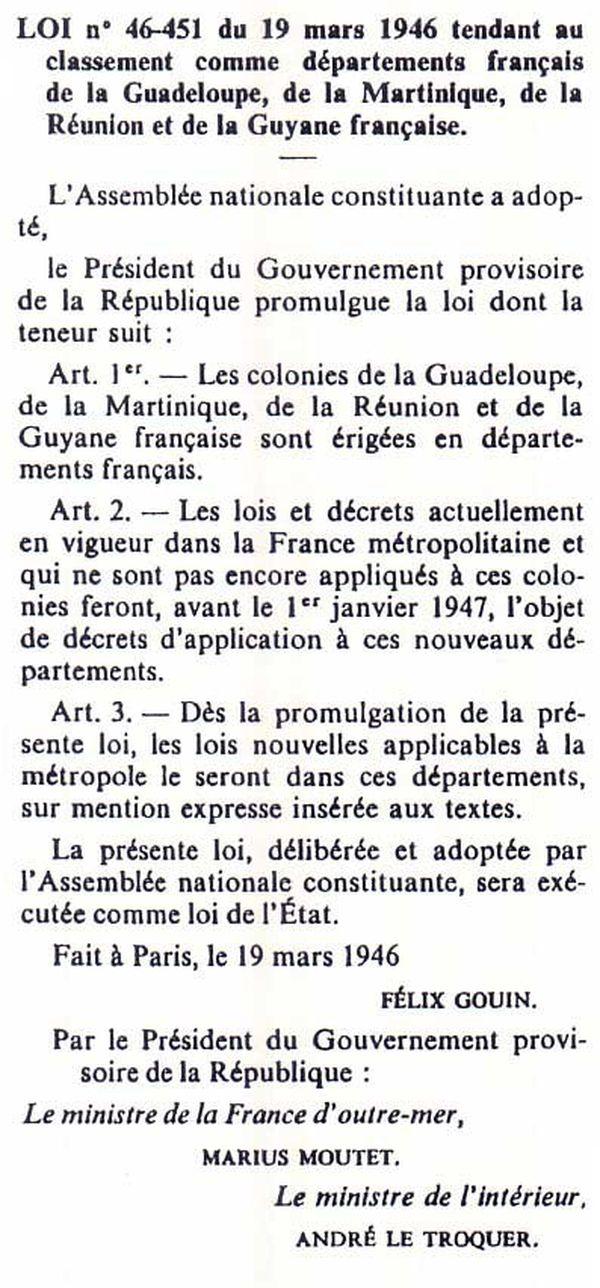 Départementalisation 1946