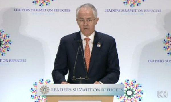 Malcolm Turnbull, le Premier ministre australien, au sommet sur les réfugiés, à New York.