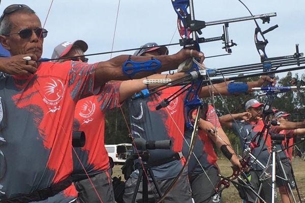 Sélection calédonienne de tir à l'arc pour les Mini-Jeux du Pacifique, juste avant (novembre 2017)