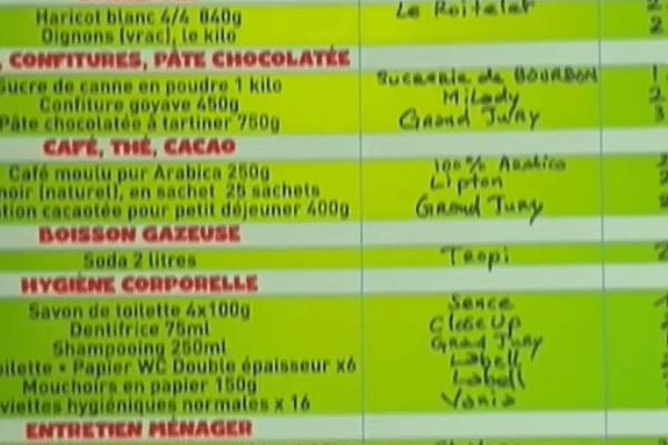 Liste de prix  à Saint-laurent
