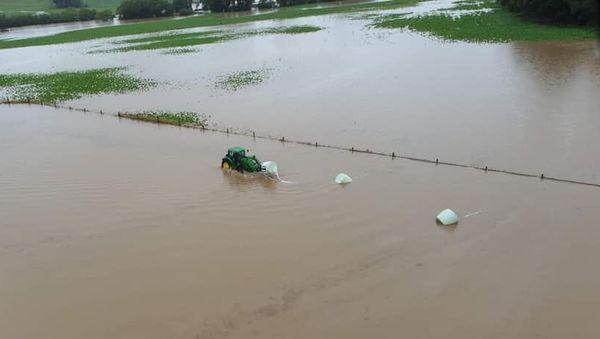 Inondations en Nouvelle-Zélande, champ inondé, 5 février 2020