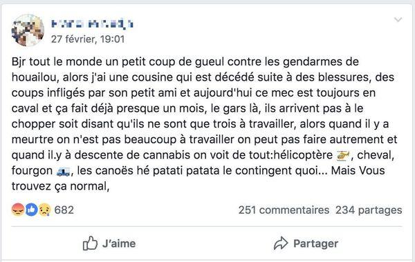 Houailou : coup gueule sur homicide février 2019