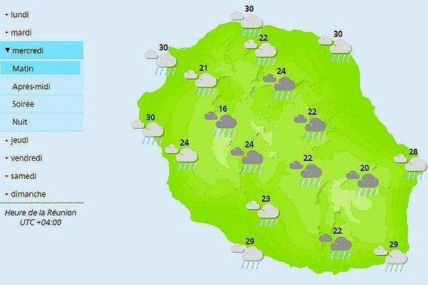 Carte des prévisions météorologiques du mercredi 11 décembre 2019