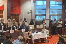 Roch Wamytan prononce son discours d'investiture après sa réélection, le 28 juillet 2021.