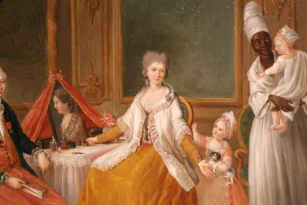 Riche famille bordelaise avec une nounou noir au 18e siècle (Musée d'Aquitaine)
