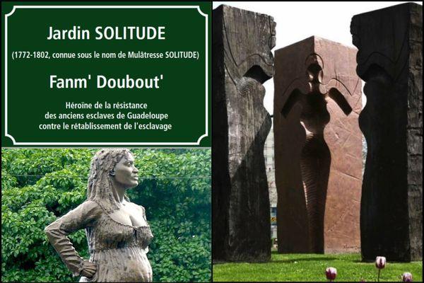 Montage statues mulâtresse Solitude
