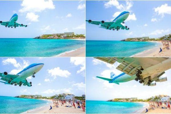 Un avion s'apprête à atterrir sur la piste de l'aéroport international Princess Juliana à Saint-Martin.