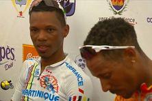 Cédric Eustache (Martinique) et Boris Carène (ASBM) vainqueur de la 4e étape à Vieux-Habitants (4 août 2015)