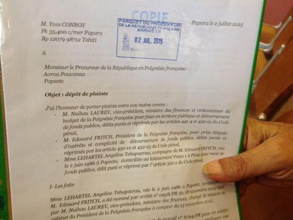 Plainte d'Yves Conroy