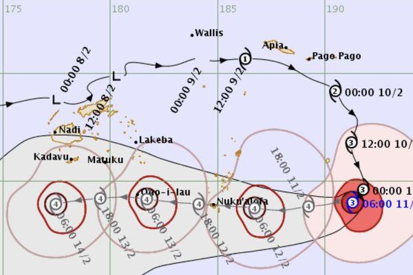 Prévision de déplacement du cyclone Gita