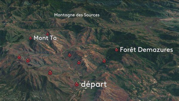 Carte des feux à la montagne des Sources