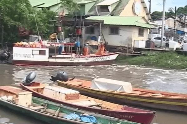 Pirogues à l'entrée de la crique à Cayenne