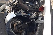 Violent accident entre auto et moto cet après-midi.
