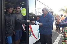 Les manifestants du GIE Karuïa se sont adressés aux usagers du réseau Tanéo.