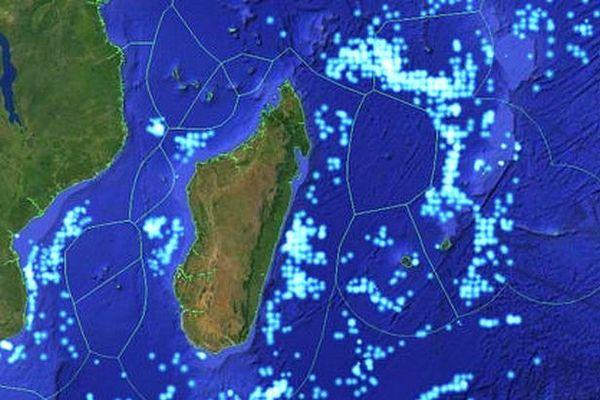 Carte de Madagascar avec délimitations des zones des pays