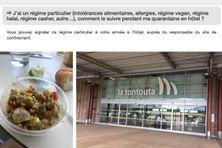 Capture d'écran sur le site du gouvernement calédonien, repas de quatorzaine et aéroport.
