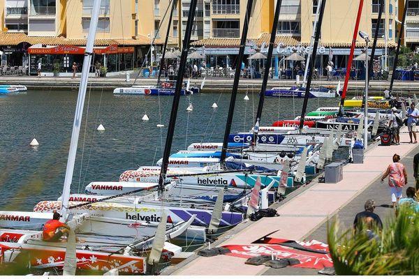 Trop de vent samedi 23 juillet à Gruissan, les bateaux restent au port