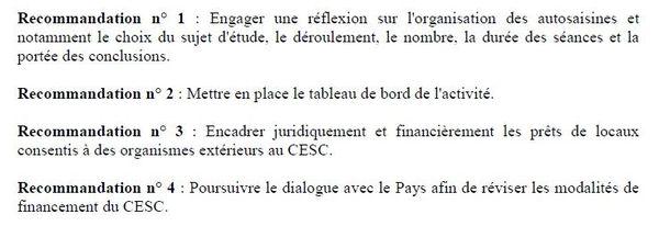 Recommandations CTC CESC