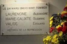 Plaque commémorative au Lamentin, en hommages aux victimes du 24 mars 1961.