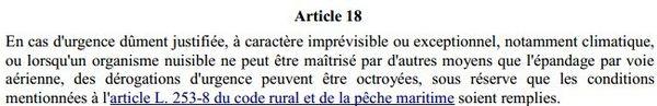 Article 18 de l'arrêté