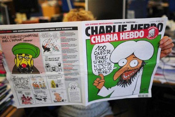 Couverture d'un numéro de Charlie Hebdo sorti lors de la victoire d'Ennahda à la présidentielle tunisienne en 2011. Il avait promis d'appliquer la Sharia comme source législative pri,ncipale dans le pays.