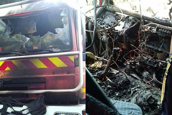 Camion pompier en feu