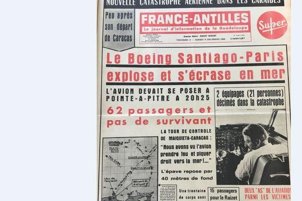 Une de France Antilles Déc. 1969