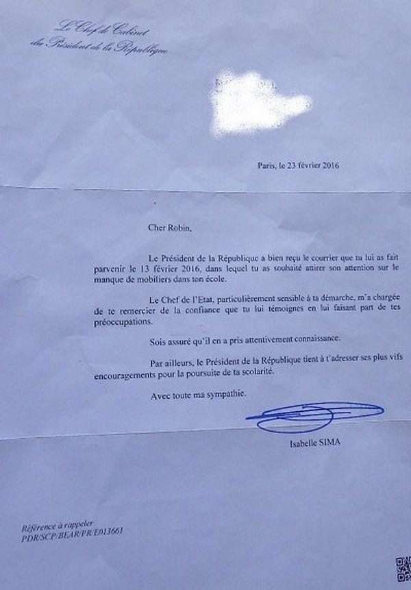 Réponse Président lettre écolier Mahorais