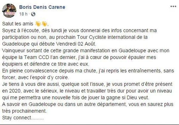 Boris Carène sera-t-il sur la ligne de départ du Tour de la Guadeloupe ?